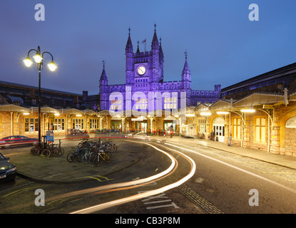 Temple Meads Station at Dusk. Bristol. England. UK. - Stock Photo