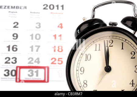 one minute into the new year, one minute to midnight - Stock Photo