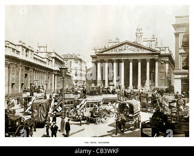 The Royal Exchange, 1908 photograph of the heart of the City of London, the Bank of England on the left - Stock Photo