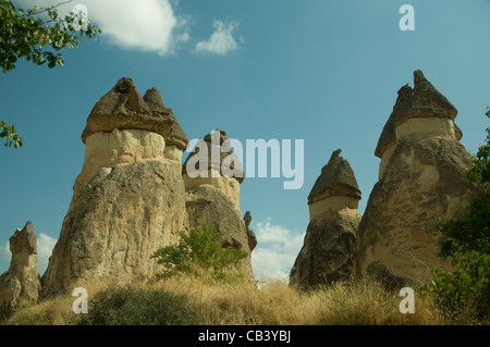 So-called 'fairy chimneys', tufa rock formations, are a remarkable sight at Pasabag in the Zelve valley in Cappadocia - Stock Photo