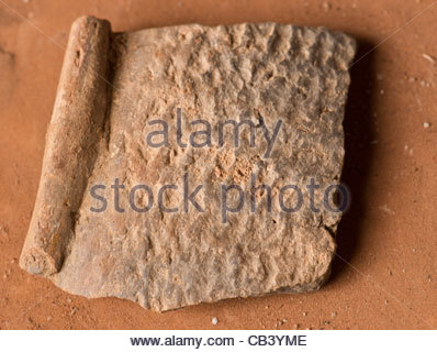 African clay Pot fragment found in a cave on top of a mountain by explorer Kypros Dogon Maii Bandiagara Cliffs Africa - Stock Photo