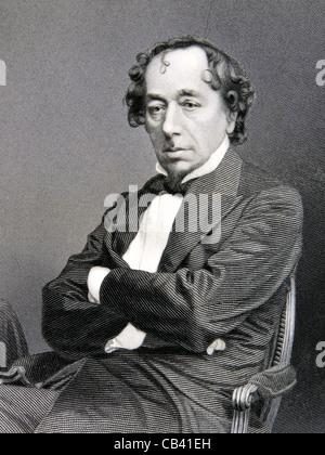 Antique engraving of The Right Honourable Benjamin Disraeli KG PC FRC (1804-1881) - Stock Photo