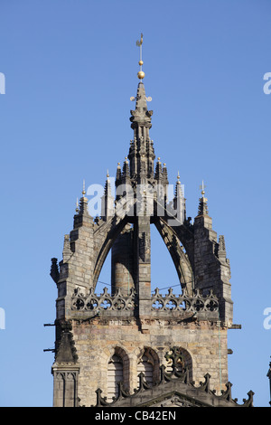 Detail of the Crown Spire of St. Giles Cathedral, also known as the High Kirk of Edinburgh, on the Royal Mile, Scotland, - Stock Photo