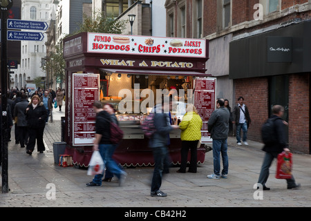 ' What a Potato ' Food Stall in pedestrianised zone, Manchester , uk - Stock Photo