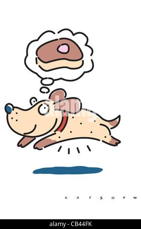 Happy Dog, Stan Capshaw, digital illustration - Stock Photo