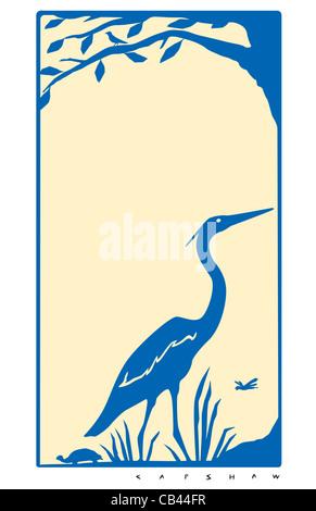 Heron, Stan Capshaw, digital illustration - Stock Photo