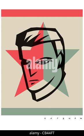 His Face, Stan Capshaw, digital illustration - Stock Photo