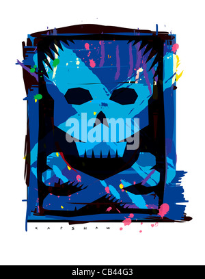 Skull and Bones, Stan Capshaw, digital illustration - Stock Photo