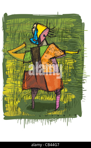 Dancer, Stan Capshaw, digital illustration - Stock Photo