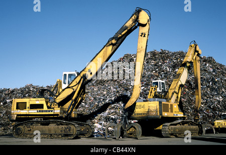 Scrap heap at EMR - European Metal Recycling at Hachmannkai in the German port Hamburg. - Stock Photo