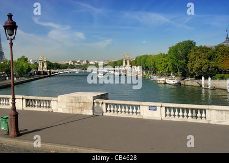 West view of River Seine from Pont de la Concorde toward Pont Alexander lll. - Stock Photo