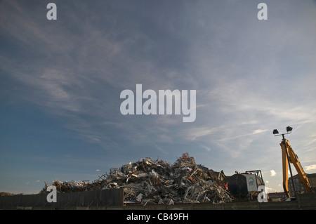 Scrap metal heap at Shoreham-by Sea, West Sussex, UK - Stock Photo