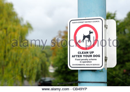 Close up of a clean up after your dog sign at Blandford Forum in Dorset, England - Stock Photo