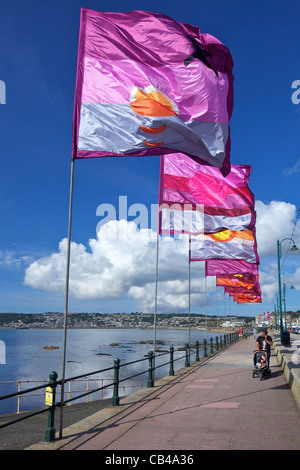 Silk flags on the seafront in Penzance,  Cornwall,South West  England, UK, United Kingdom, GB, Great Britain, British - Stock Photo