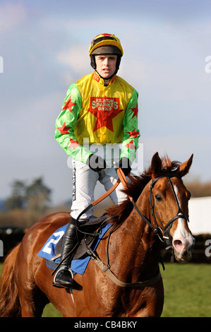 The jump jockey Ruby Walsh returning after pulling up on Hivikos at Wincanton races March 2009 - Stock Photo