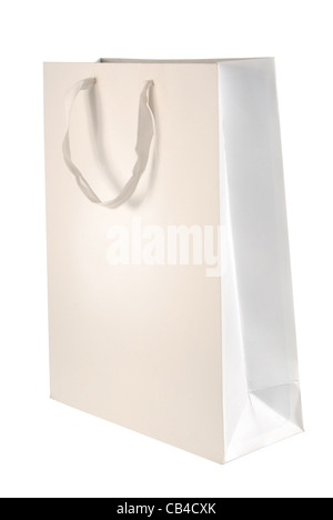 Paper bag template isolated on white background. Included clipping path, so you can easily cut it out and place - Stock Photo