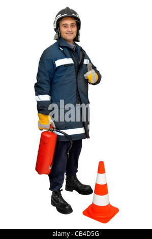 Fireman with extinguisher isolated in white - Stock Photo