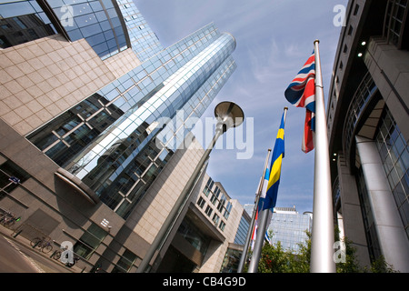 European Parliament building in Brussels, where the committees meet, Belgium - Stock Photo