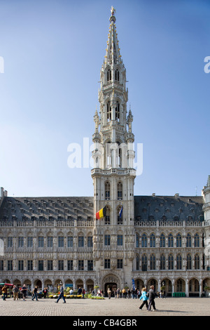 The Town Hall at the Grand Place / Grote Markt, Brussels, Belgium - Stock Photo