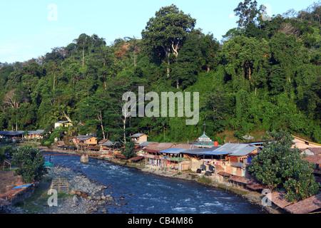 Early morning on the Bohorok River. Gunung Leuser National Park, Bukit Lawang, Sumatra, Indonesia, Southeast Asia, - Stock Photo
