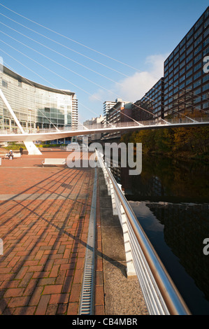 Trinity Bridge.  Santiago Calatrava, 1995.  A footbridge over the river Irwell between Salford and Manchester, England, - Stock Photo