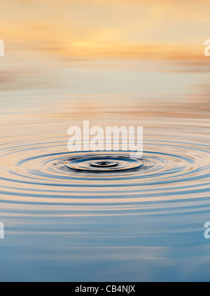 Golden water ripple at sunrise in India - Stock Photo
