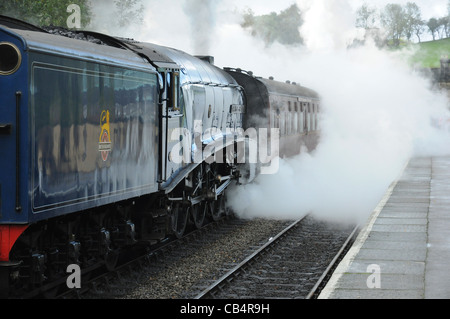 A4 Pacific No. 60007, Sir Nigel Gresley and a cloud of steam, Grosmont station, North Yorkshire Moors Railway, England, - Stock Photo