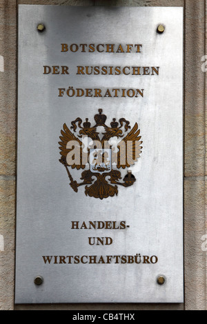 A sign for the Embassy of the Russian Federation in Berlin, Germany. - Stock Photo