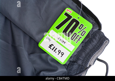 70% Off Sale Clothing Clothes Sale cut price tag label tags labels - Stock Photo