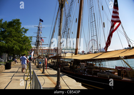 The Pride of Baltimore, Niagara in background. Tall Ships 2011, Navy Pier, Chicago, Illinois. - Stock Photo