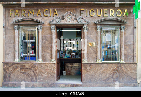 Pharmacy Farmacia in Jerez, Andalucia, Spain - Stock Photo