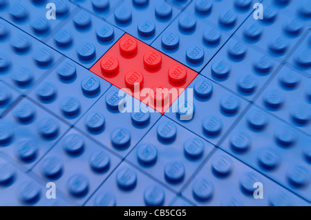A single red toy building brick stands out among blue building bricks. - Stock Photo