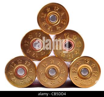 12 gauge shotgun shells used for hunting - Stock Photo