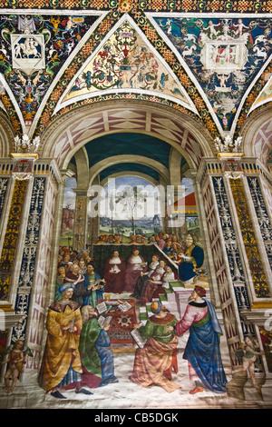 Fresco 8: 'Pope Pius II at the Congress of Mantua' by Pinturicchio, in the Piccolomini Library, Duomo di Siena, - Stock Photo