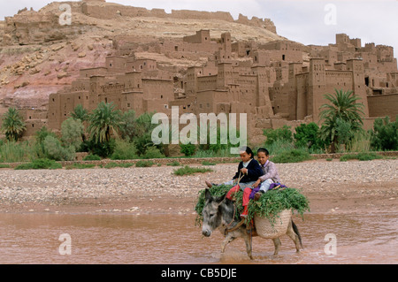 Two girls ride home on their donkey bringing animal fodder, Dades Valley, High Atlas, Morocco - Stock Photo