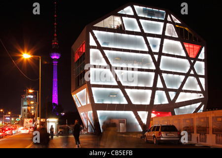 Humboldt Box and television tower in Berlin during Festival of lights 2011 - Stock Photo