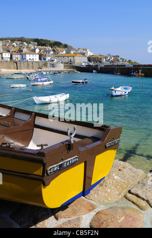 fishing boats in the harbour at Mousehole, Cornwall, UK - Stock Photo