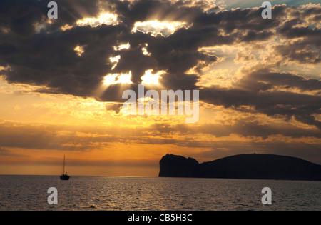 Sunset near 'Capo Caccia'  Alghero Sardinia - Stock Photo