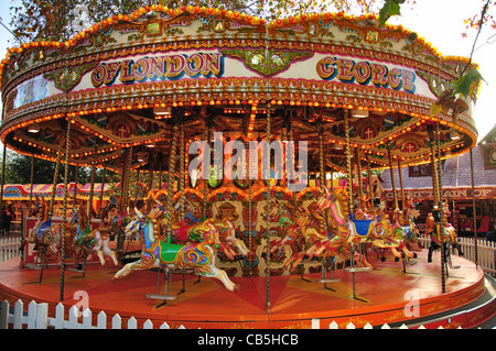 Carousel at 'Winter Wonderland' Hyde Park, City of Westminster, London, Greater London, England, United Kingdom - Stock Photo