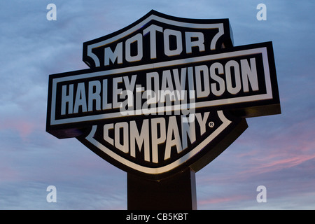 A sign outside of the Harley-Davidson York manufacturing plant.  - Stock Photo