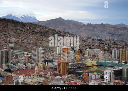 A view over La Paz, Bolivia from Killi Killi viewpoint - Stock Photo