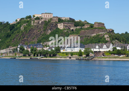 The Fortress Ehrenbreitstein located on the other side of the river Rhine of Koblenz - Stock Photo