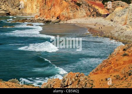 Portugal, Algarve: View to beach Praia do Tonel in Sagres - Stock Photo