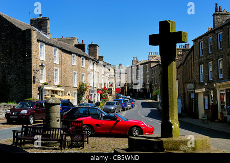 Centre of Askrigg village ,Yorkshire Dales - Stock Photo