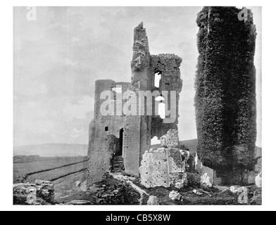 Corfe Castle English Dorset Purbeck Hills ruin ruins ruined Norman Bailey landmark monument