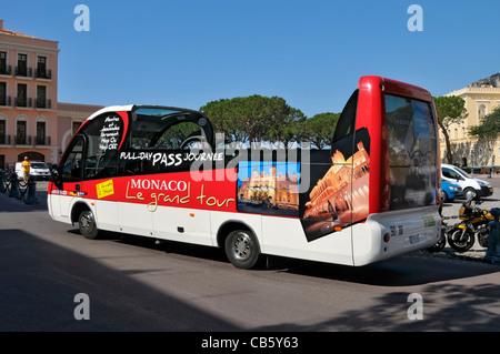 Tour Bus Monte Carlo Monaco Principality French Riviera Mediterranean Cote d'Azur Alps - Stock Photo