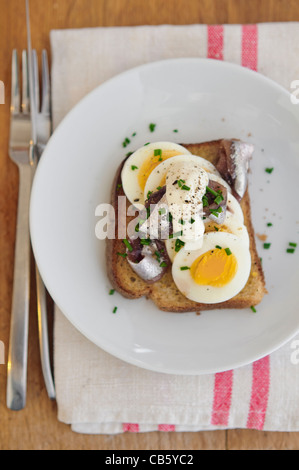 A Swedish classic open faced sandwich with sliced, hardboiled egg, topped with canned Swedish ansjovis (pickled - Stock Photo