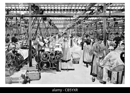 weaving shed Haworth's Mills Ordsall textile fabric design clothing cloth clothes cottage industry cotton wool flax - Stock Photo