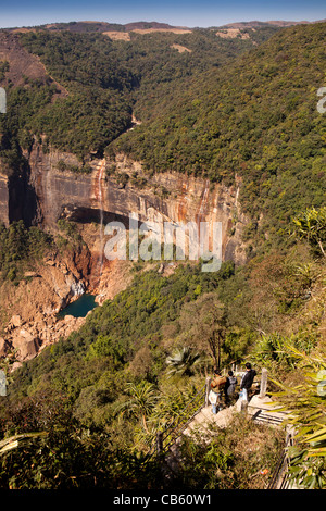 India, Meghalaya, East Khasi Hills, Cherrapunji, Nohkalikai Falls, the word's fourth highest waterfall - Stock Photo