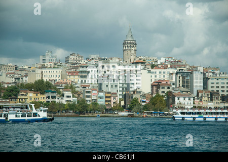 Looking across the Golden Horn waterway to Galata from Istanbul's Eminonu square - Stock Photo